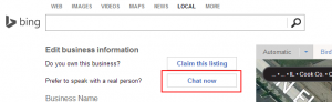 Chat to fix problem Bing local