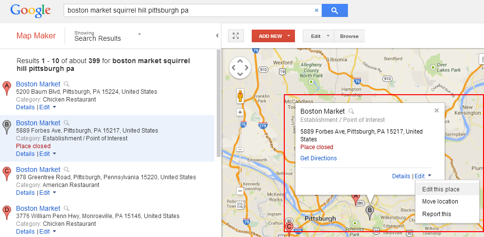 Boston Market example for Google Map Maker