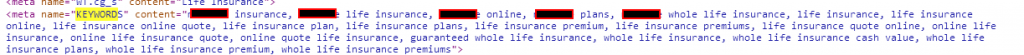 Life insurance company meta keywords tag