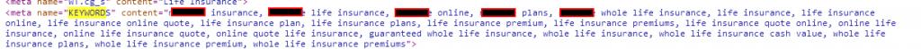 Life insurance company meta keywords tag