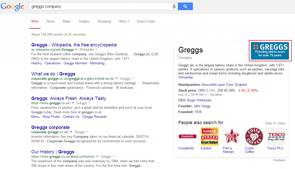 Google Knowledge Graph Fail - greggs company