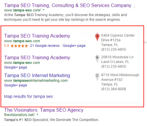 SEO local packed results