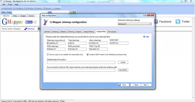 g-Mapper sitemap configuration