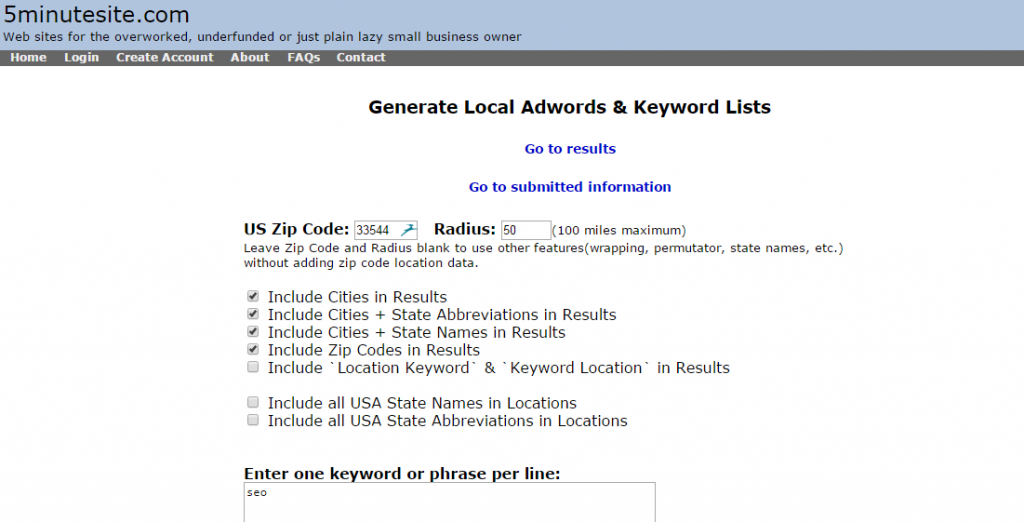 tampa seo keywords generator