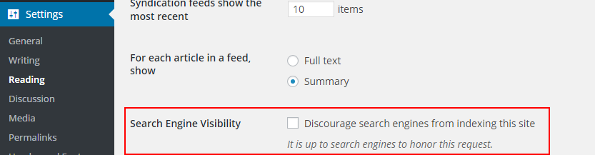 WP search engine visibility option