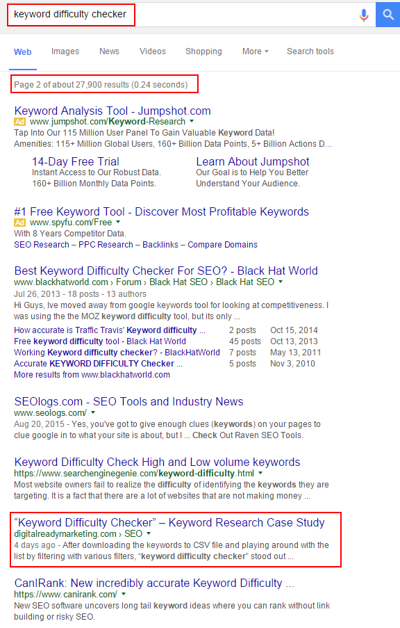 keyword difficulty checker ranking on page 2 published 4 days later