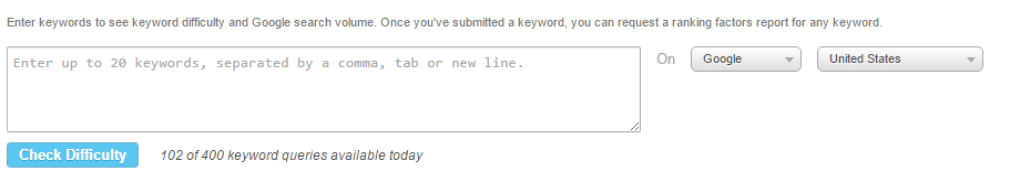 Moz keyword difficulty checker