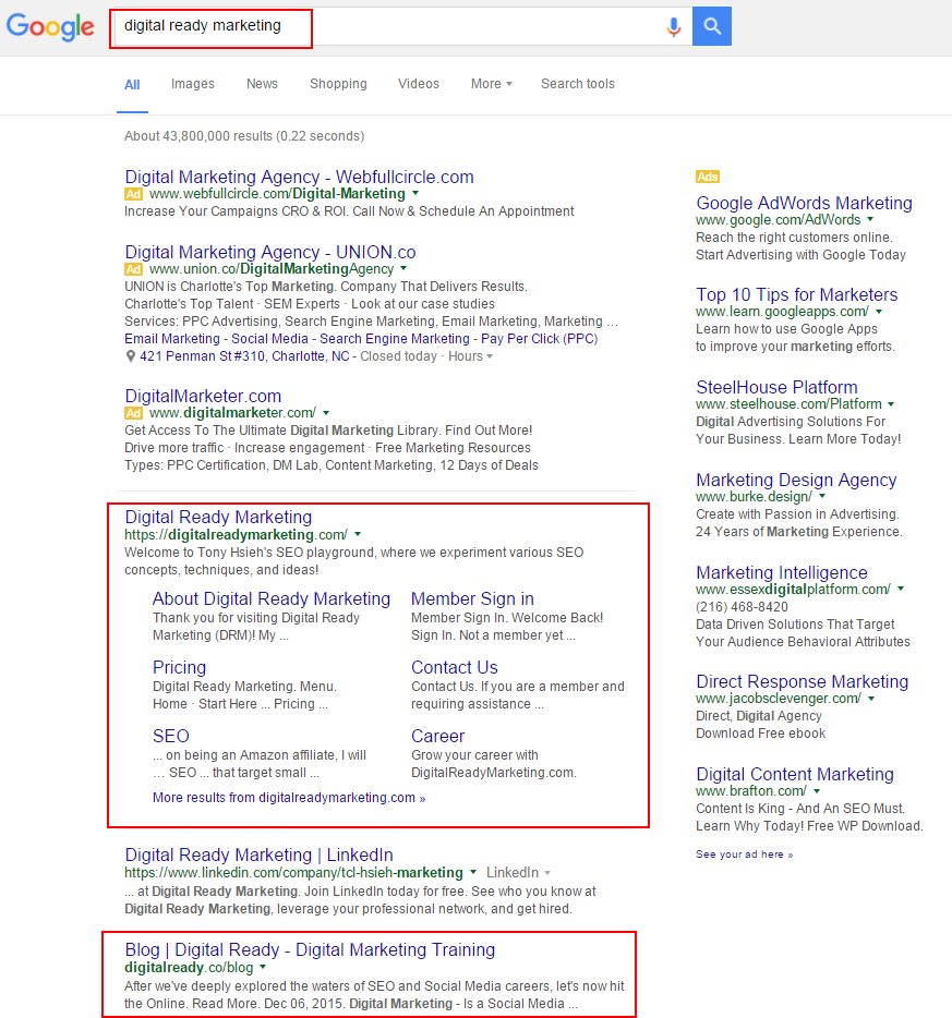 digital ready marketing search result on google