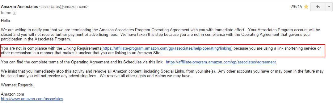 email from amazon associates