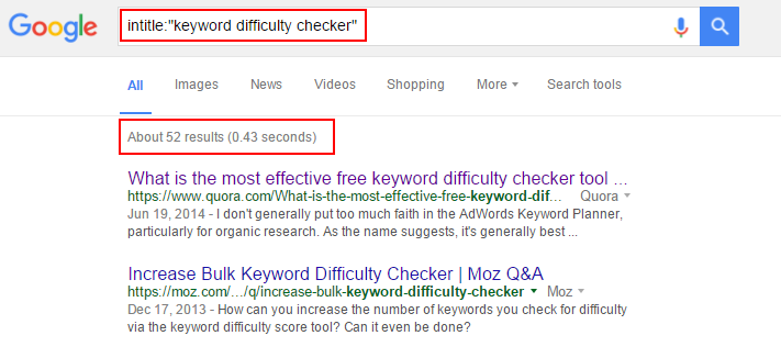 number of websites contain the keyword -keyword difficulty checker
