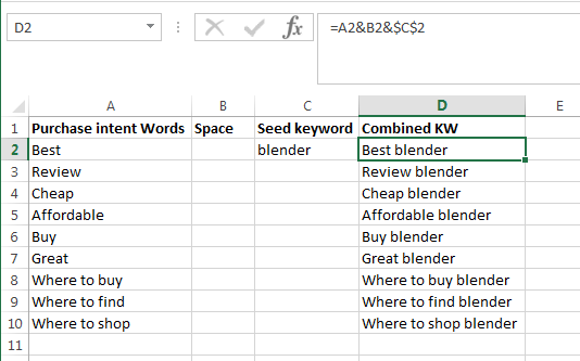 use excel to create purchase intent KW