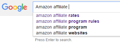 Amazon affiliate search result