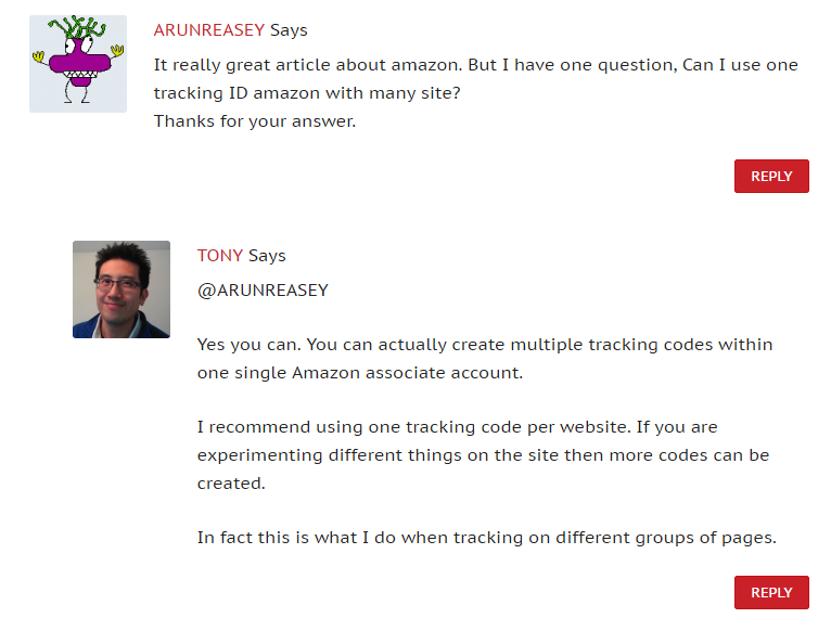 answering Amazon affiliate related questions in blog comments
